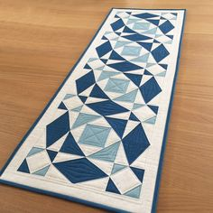 Blue Quilted Table Runner, Modern Long Table Topper, Quilted Wall Hanging, Blue and Cream Table Quilt - Blue Quilted Table Runner Modern Long Table Topper Quilted Patchwork Quilt, Patchwork Table Runner, Table Runner And Placemats, Table Runner Pattern, Quilted Table Runners, Quilting Thread, Machine Quilting, Storm At Sea Quilt, Quilt Modernen