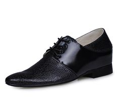Black  height increase 6cm / 2.36inch with the SKU:MENJGL_6252 - Black men increase height dress shoes can be taller 6cm / 2.36inches