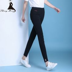 Spring Pencil Pants for Women 2017 New Fashion High Waist Elastic Plus Size M-4XL Ladies Slim Trousers All-Match Casual Pants
