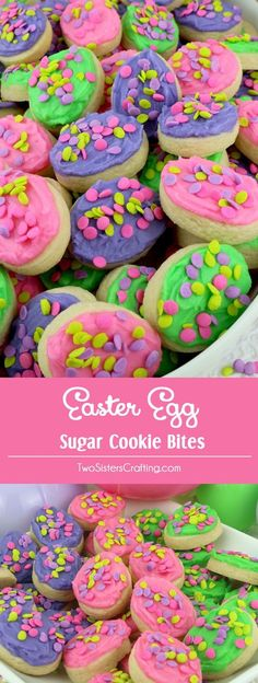 Easter Egg Sugar Cookie Bites - these yummy Easter Treats are so easy to decorate that even the youngest family member can join in on the fun. They are a super delicious bite-sized taste of sugar cookie and creamy buttercream frosting. You'll definitely want to add these Easter Cookies to your Spring Baking List this year! Pin this colorful and festive Easter dessert for later and follow us for more great Easter Food Ideas.