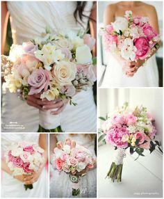 Różowy bukiet ślubny - róże, hortensje i frezje | Ślubne ...