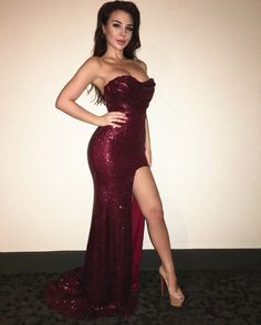 b8a5f88c73366 Prom Dress,Burgundy Sequin Prom Dresses,Strapless Prom Dress,Cheap Prom  Dresses,Mermaid Long Prom Dresses,Long Party Dresses,Women Evening Dresses,High  Slit ...