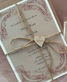 Rustic Wedding Invitation Suite   Beautifully made for your Rustic/ Country / Vintage wedding. This suite comes with The invitation, r.s.v.p, and