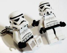 I don't wear cufflinks but if I did I'd wear these Lego Star Wars - Stormtrooper Cufflinks Lego Jewelry, Lego Gifts, Diy Gifts, Lego Stormtrooper, Cool Lego, Awesome Lego, Cuadros Star Wars, Lego People, Lego Creations