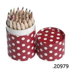 .20979 _ 36 lápis de cor encarnado bolinhas | 36 pencil red tube retrospot (altura|height 10cm) _ ♥ 5.00   www.atelierdatufi.com | info@atelierdatufi.com