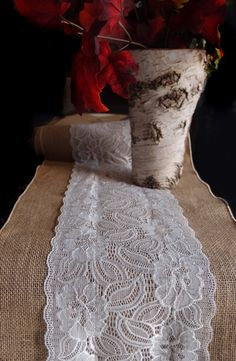 Vintage Burlap and Lace Style No.2 Table Runner (12 x 108)