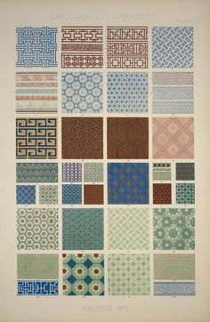 I see French blue, sage, brown, russet, salmon pink, and teal.   The grammar of ornament / Owen Jones