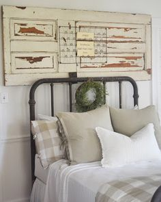 Farmhouse Bedroom | Little White House Blog (Bed Spring Card Holder from Painted Fox Treasures)