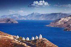 Coastal windmills on Leros, Greece