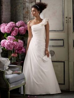 Taffeta A-line Gown with One Shoulder Detail @ David's Bridal $399.99.  Pinned for my sister.