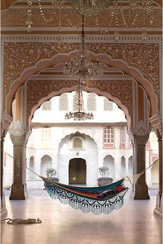 Chandeliers beautiful and intricate arches colourful hammock to relax on - Does it get better than this! Marrakech, Design Exterior, Interior And Exterior, Interior Design, Outdoor Hammock, Hammocks, Hammock Ideas, Eno Hammock, Backyard Hammock