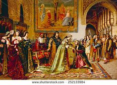 Christopher Columbus received by King Ferdinand and Queen Isabella on his arrival in chains in Spain in 1500, chromolithograph from painting by Francisco Jover, 1892