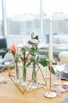 Gold geometric table decor: http://www.stylemepretty.com/living/2017/04/19/celebrating-60-with-a-rooftop-surprise-party/ Photography: Karl Bluemel - http://www.karlbluemel.com/