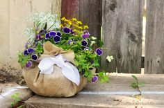 Still loving this Diy Burlap Planter idea for a Mother's Day gift. You can make it any size too. Also a great one the kids can help with.
