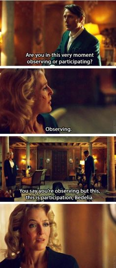 Hannibal season 3 promo. Source: She thinks she's so cool and sophisticated, that she can hold her own against Hannibal. She's quickly learning that she can't.