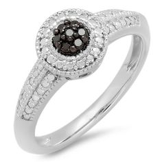 0.10 Carat (ctw) Sterling Silver Round Black Diamond Ladies Engagement Bridal Promise Ring 1/10 CT DazzlingRock Collection. $59.00. Diamond Weight : 0.10 ct. tw.. Diamond Color / Clarity : Black / Opaque. Crafted in 925 Sterling-Silver. This Ring is best for engagement ring .. Items is smaller than what appears in photo. Photo enlarged to show detail