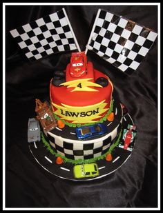 Made a Cars2 themed cake for my nephews Birthday.