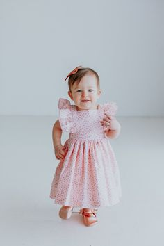 Eloise Pinafore Dress, only from cuteheads.com // the cutest pink polka dot party dress, vintage inspired and the perfect twirly dress for her next special occasion