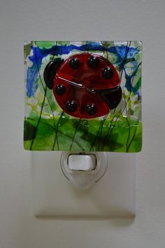 Ladybug Fused Glass Night Light