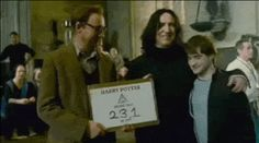 Snape getting cozy with Lupin and Harry: