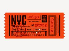 Creative Type, Ticket, Layout, Nyc, and Subway image ideas & inspiration on Designspiration Ticket Design, Label Design, Graphic Design Posters, Graphic Design Inspiration, Graphic Designers, Layout Design, Design Art, Logo Design, Typography Letters