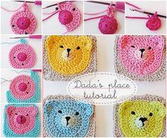 Oso de peluche adorable abuelita cuadrados DIY de la manta de ganchillo del oso de peluche