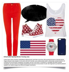 """""""4th July"""" by mahruawal ❤ liked on Polyvore featuring Converse, Valextra, Kim Rogers, Lee, redwhiteandblue and july4th"""