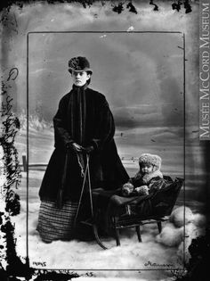 """William Notman preferred the tricky and complicated process of the wet collodion process over the more popular daguerreotype. """"Missie Alice Notman in Sleigh with Nurse,"""" Montreal, McCord Museum. Montreal Qc, Donate Now, Old Photographs, Daguerreotype, A Decade, Online Art, My Images, Book Art, Alice"""