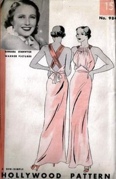 Barbara Stanwyck dress pattern. What was old is new again - love this.