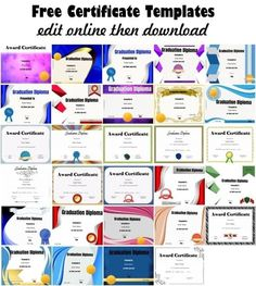 These free certificate templates can be used for any purpose. You can customize the text with our free online certificate maker. Certificate Of Recognition Template, Free Printable Certificate Templates, Graduation Certificate Template, Certificate Of Completion Template, Free Certificates, Certificate Design Template, Free Certificate Maker, Certificate Layout, Award Templates Free