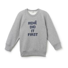 "Lacoste Fashion Show ""René Did It First"" Graphic Sweatshirt (£175) ❤ liked on Polyvore featuring tops, hoodies, sweatshirts, graphic sweatshirts, sweat tops, lacoste sweatshirt, cotton sweat shirts and long sleeve tops"