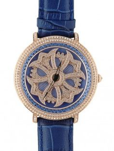 bc2a709ce4c Blue Flower Rotating Dial Wrist Watch