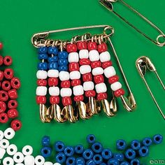 Make your own of July crafts with this Beaded American Flag Pin Craft Kit! This jewelry kit is a fun and fashionable way to show your American pride this . Independence Day Activities, Veterans Day Activities, Scout Activities, Senior Activities, Senior Crafts, Elderly Activities, Dementia Activities, Class Activities, Patriotic Crafts