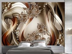 """Beautiful and Stunning this large wallpaper mural """" Brown Symphony"""" looks fantastic up and will transform your Room into something fabulous! This wallpaper mural will give off the wow factor in any room or workplace. 3d Wallpaper For Walls, Wallpaper Decor, 3d Wallpaper Living Room, Photo Wallpaper, Living Room Designs, Living Room Decor, Bedroom Decor, Ceiling Design, Wall Design"""