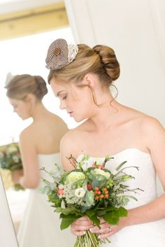 Tweed Headpiece with spotty Button