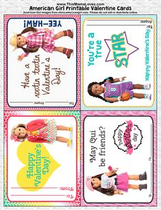 American Girl Valentines- free, printable American Girl Valentines!!  Print them for their friends or tiny for their dolls.