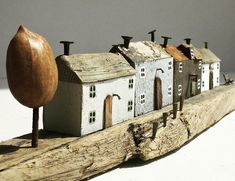 miniatures by Kirsty Elson Driftwood Beach, Driftwood Art, Kirsty Elson, Small Shelves, Window Sill, Beach Art, House In The Woods, Little Houses, Wood Crafts