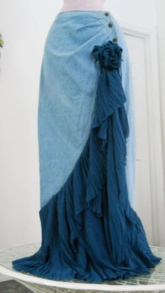 Cascade Bleue waterfall jean skirt teal silk cascading ruffle Renaissance Denim Couture turquoise blue bohemian sea goddess mermaid