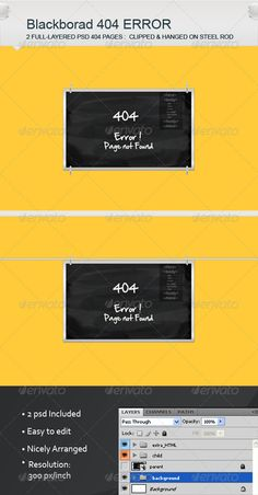 Black Board 404 Error Pages - 404 Pages Web Elements