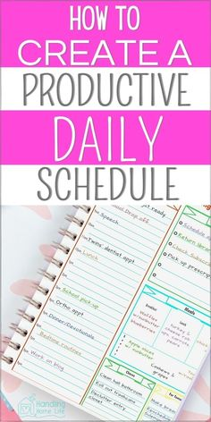 Organize your time and create a productive daily schedule. Time management tips to organize routines and become an organized mom! #handlinghomelife Daily Routine Schedule, Routine Planner, Daily Routines, Mom Planner, Weekly Planner Printable, Planner Ideas, Daily Organization, Organizing Tips, Time Management Skills
