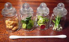 Miniature bottles of foods