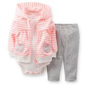 Neon stripes and polka dots make this set a really bright idea! Hooded cardigan zips over comfy cotton pants and short-sleeve bodysuit for an easy, no-fuss outfit.