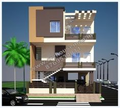 3d view of puru 39 s front elevation house design by ashwin Good house designs in india