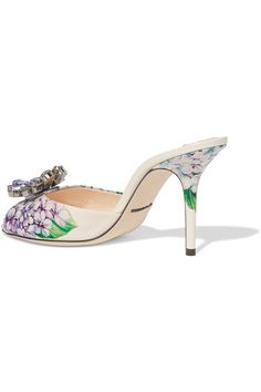 Dolce & Gabbana - Crystal-embellished Floral-print Glossed-leather Mules - Blue - IT35