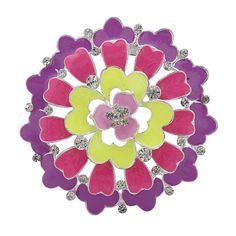 Fashion Latest Women Multicolor Flower Rhinestone Enamel Brooch Pins