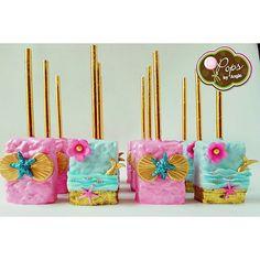 ❋ Mermaid Party chocolate covered rice krispy treats