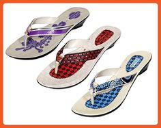 Indistar Women's PU Krocs Super Comfortable Flip Flop (Set Of -3 Pair) 8 Purple::Brown::Blue - Sandals for women (*Amazon Partner-Link)