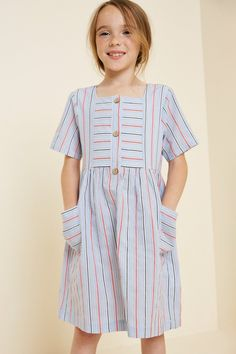 Girls Casual Dresses, Cute Girl Outfits, Little Girl Dresses, Kids Outfits, Girls Dresses Sewing, Dress Anak, Estilo Fashion, Mini Shirt Dress, Tween Fashion