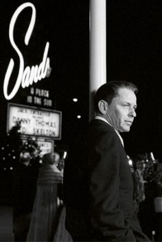 Frank.  Sands.  Vegas. Frank Sinatra in front of the Sands Hotel in a vintage Las Vegas  photo.