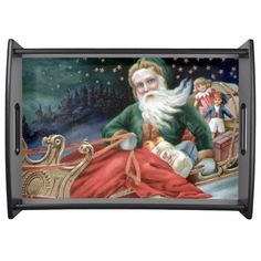 Vintage Santa and Sleigh Serving Tray